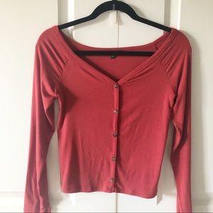 Ambiance Long Sleeve Ribbed Top/Size Medium